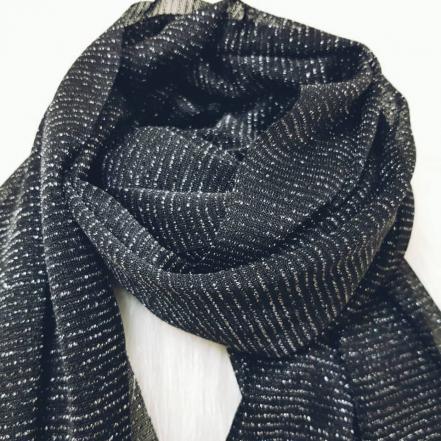 عرضه شال و روسری جدید مشکی لمه دار - بازار تولید و پخش روسری | پانیذ پوش